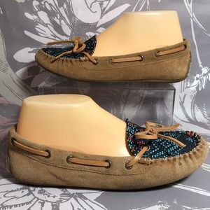 Lucky Brand Tan Suede Leather Beaded Moccasins S 7